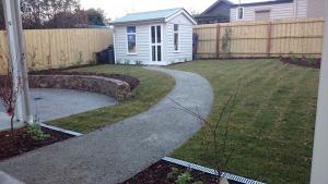 Reservior back garden, Coldstream stone wall, Lawn, Cute garde shed, Garden Path